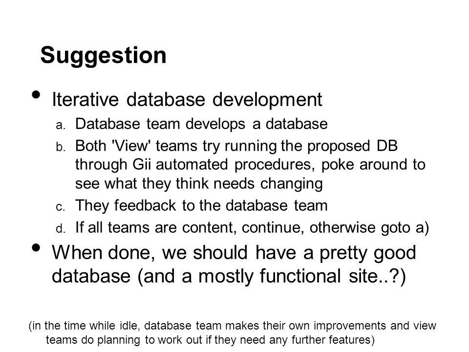 Suggestion Iterative database development a. Database team develops a database b.