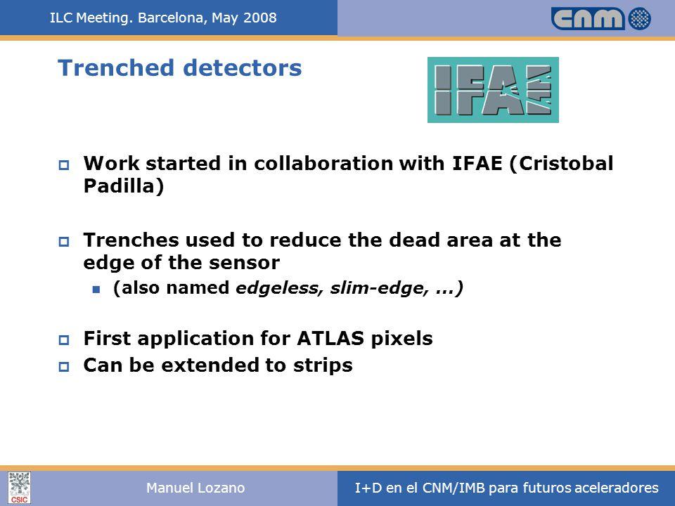 ILC Meeting. Barcelona, May 2008 I+D en el CNM/IMB para futuros aceleradoresManuel Lozano Trenched detectors  Work started in collaboration with IFAE