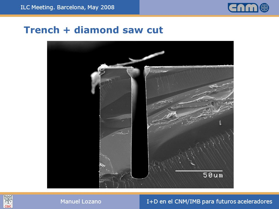 ILC Meeting. Barcelona, May 2008 I+D en el CNM/IMB para futuros aceleradoresManuel Lozano Trench + diamond saw cut