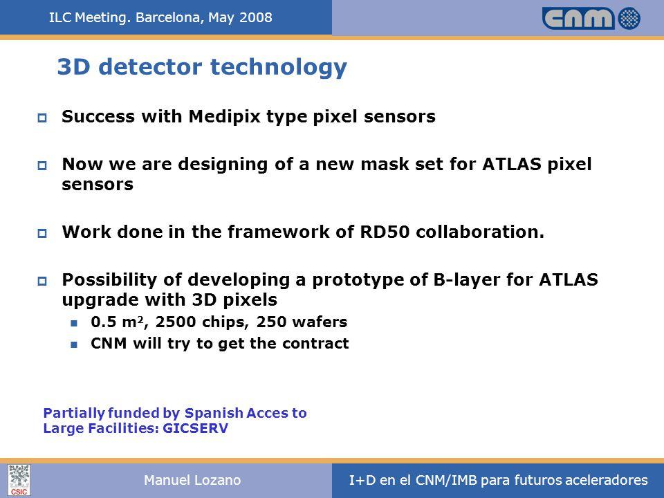 ILC Meeting. Barcelona, May 2008 I+D en el CNM/IMB para futuros aceleradoresManuel Lozano 3D detector technology  Success with Medipix type pixel sen