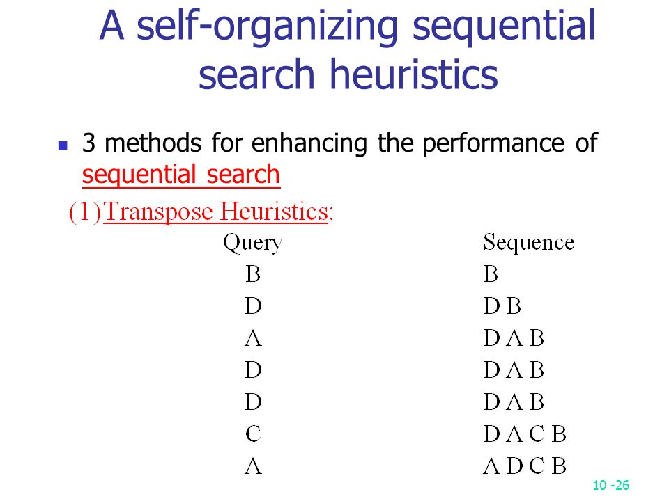 10 -26 A self-organizing sequential search heuristics 3 methods for enhancing the performance of sequential search