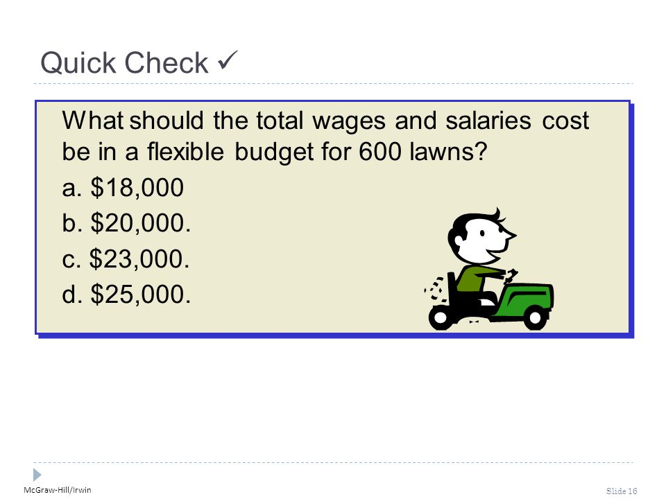 McGraw-Hill/Irwin Slide 16 Quick Check What should the total wages and salaries cost be in a flexible budget for 600 lawns.