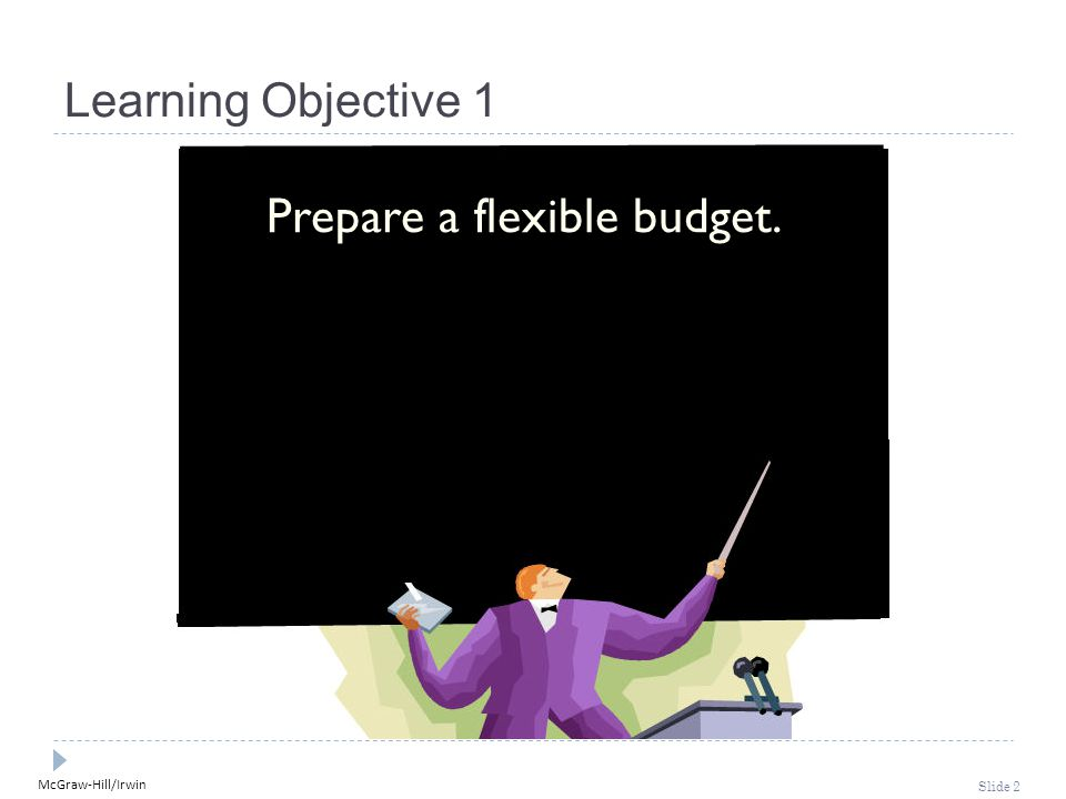 McGraw-Hill/Irwin Slide 2 Learning Objective 1 Prepare a flexible budget.