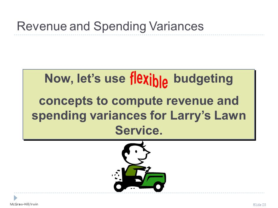 McGraw-Hill/Irwin Slide 25 Now, let's use budgeting concepts to compute revenue and spending variances for Larry's Lawn Service.