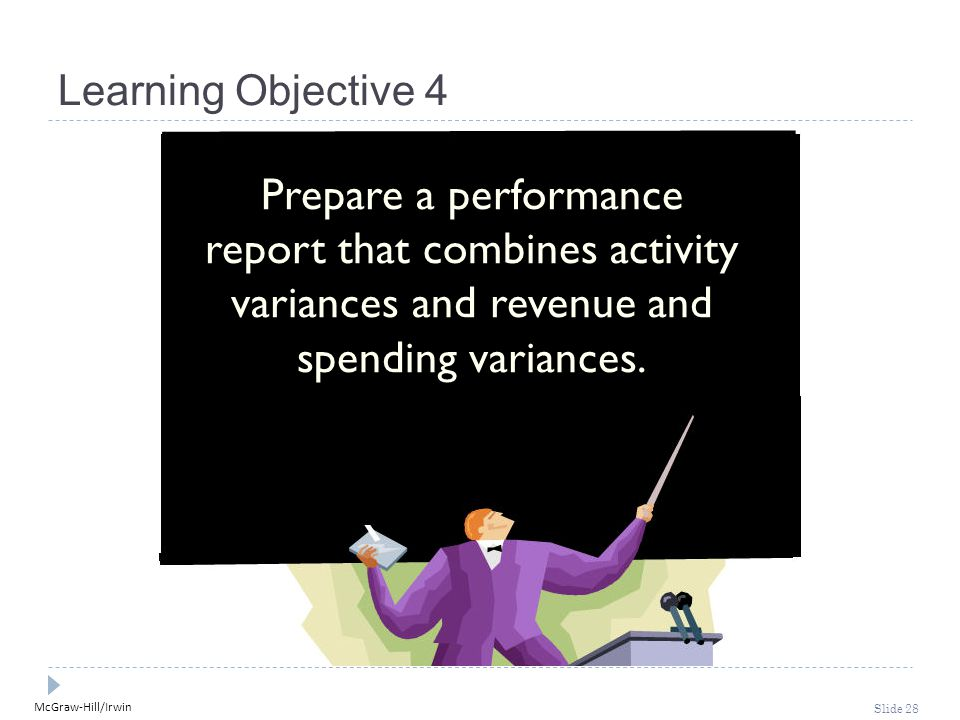 McGraw-Hill/Irwin Slide 28 Learning Objective 4 Prepare a performance report that combines activity variances and revenue and spending variances.