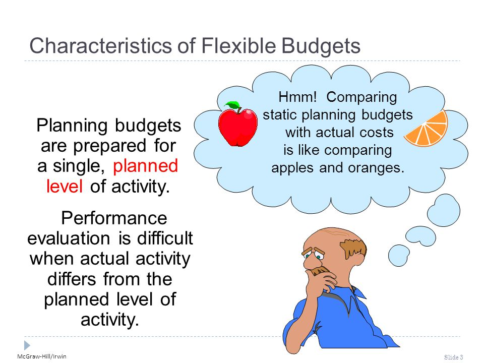 McGraw-Hill/Irwin Slide 3 Characteristics of Flexible Budgets Planning budgets are prepared for a single, planned level of activity.