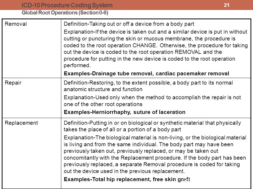 ICD-10 Procedure Coding System Global Root Operations (Section 0-9) RemovalDefinition-Taking out or off a device from a body part Explanation-If the device is taken out and a similar device is put in without cutting or puncturing the skin or mucous membrane, the procedure is coded to the root operation CHANGE.