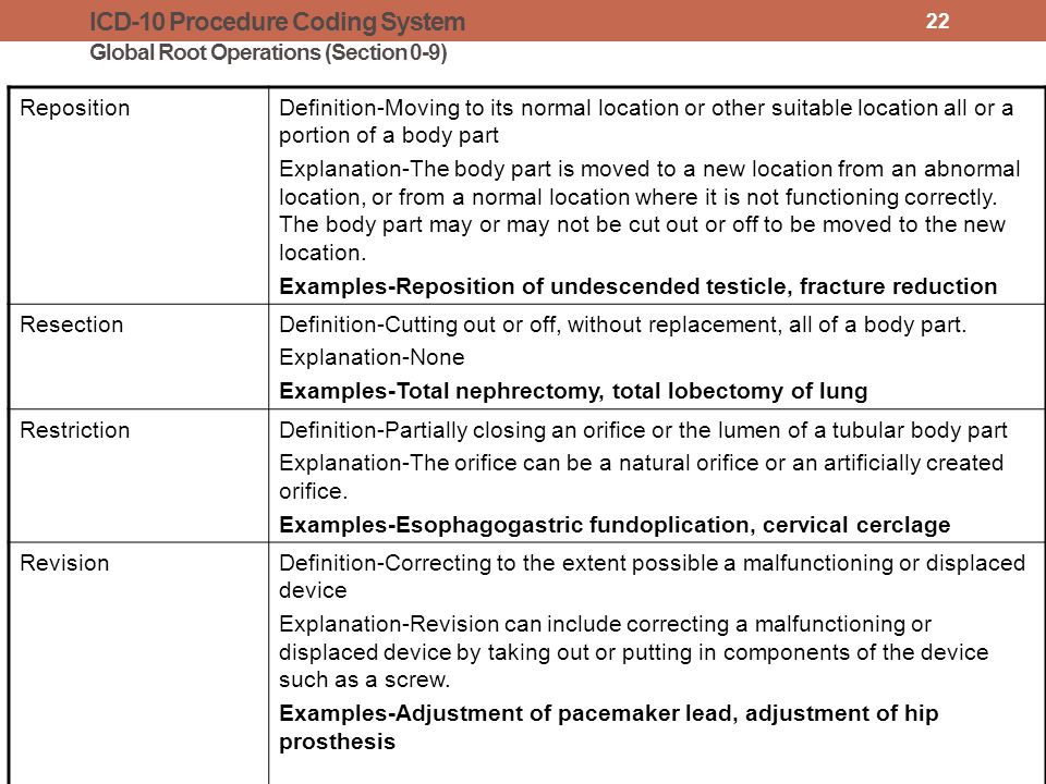 ICD-10 Procedure Coding System Global Root Operations (Section 0-9) RepositionDefinition-Moving to its normal location or other suitable location all or a portion of a body part Explanation-The body part is moved to a new location from an abnormal location, or from a normal location where it is not functioning correctly.