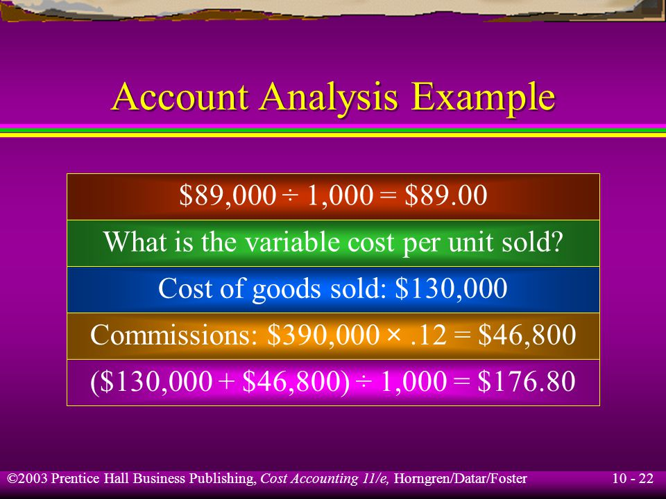 10 - 22 ©2003 Prentice Hall Business Publishing, Cost Accounting 11/e, Horngren/Datar/Foster Account Analysis Example $89,000 ÷ 1,000 = $89.00 What is the variable cost per unit sold.