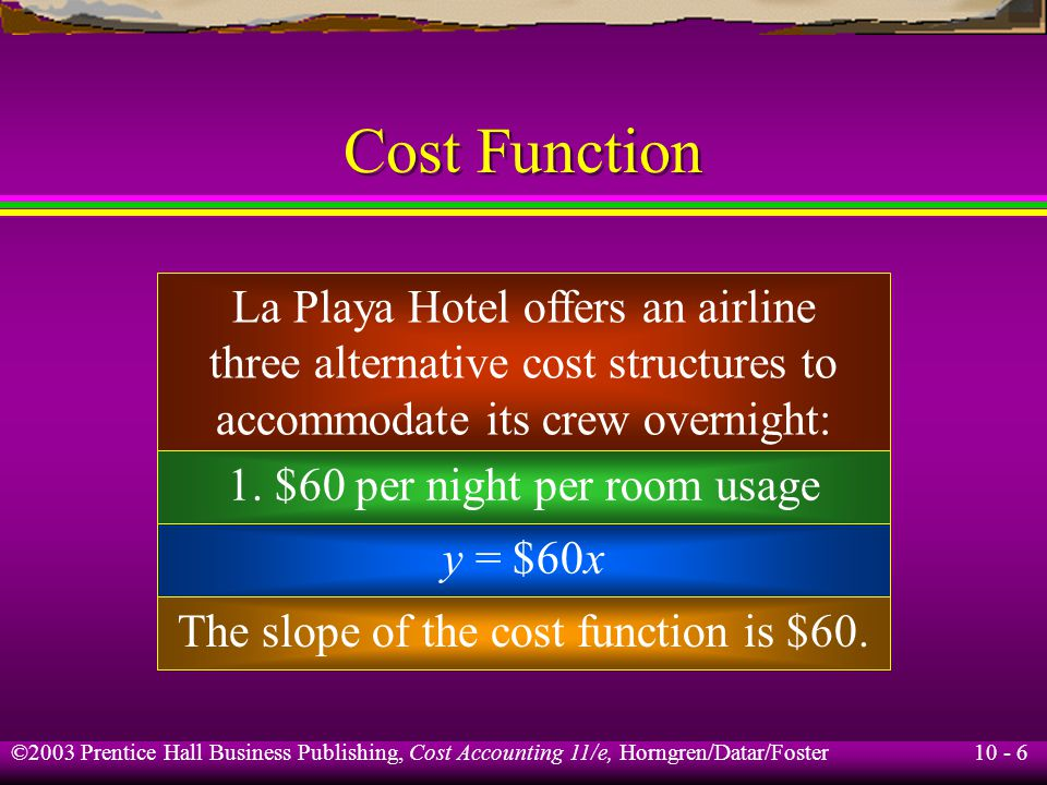 10 - 6 ©2003 Prentice Hall Business Publishing, Cost Accounting 11/e, Horngren/Datar/Foster Cost Function La Playa Hotel offers an airline three alternative cost structures to accommodate its crew overnight: 1.