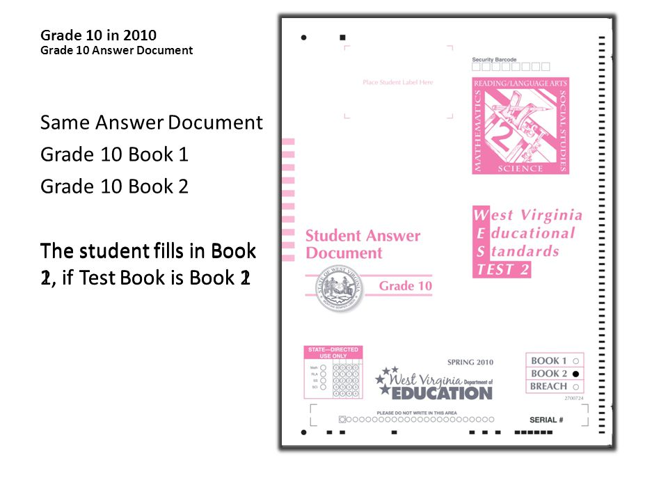 Grade 10 Answer Document Same Answer Document Grade 10 Book 1 Grade 10 Book 2 The student fills in Book 1, if Test Book is Book 1 The student fills in Book 2, if Test Book is Book 2 Grade 10 in 2010