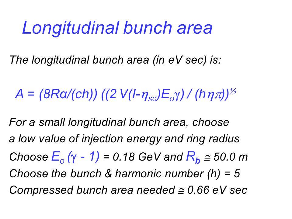 Longitudinal bunch area The longitudinal bunch area (in eV sec) is: A = (8Rα/(ch)) ((2 V(I-  sc )E o  ) / (h  )) ½ For a small longitudinal bunch