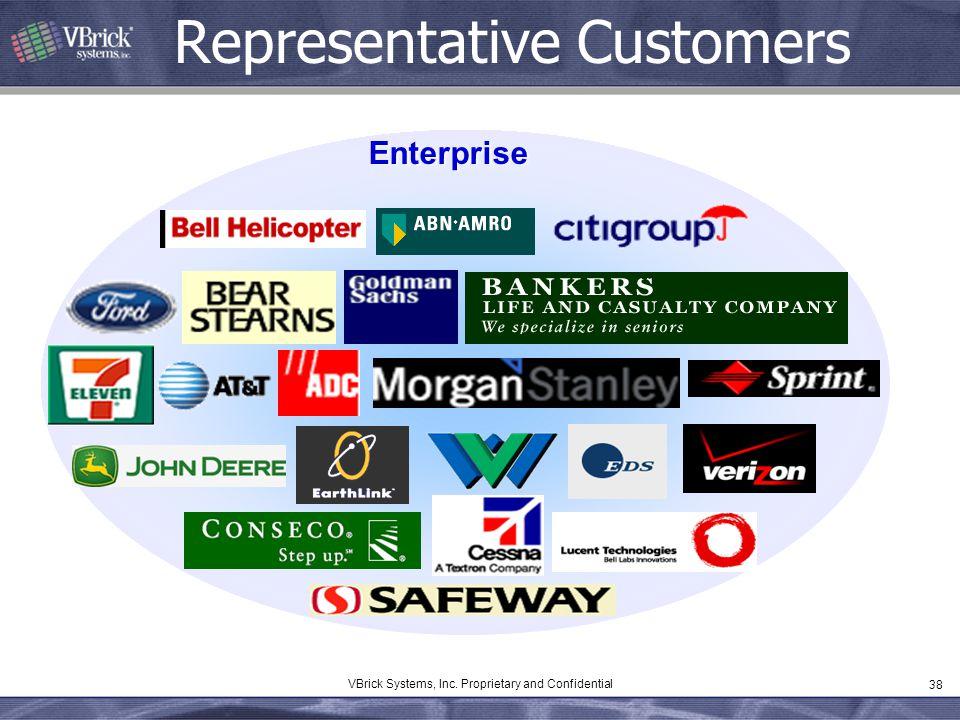 38 VBrick Systems, Inc. Proprietary and Confidential Representative Customers Enterprise