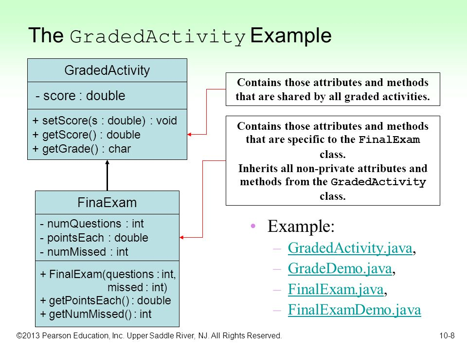©2013 Pearson Education, Inc. Upper Saddle River, NJ. All Rights Reserved. 10-8 The GradedActivity Example Example: –GradedActivity.java,GradedActivit