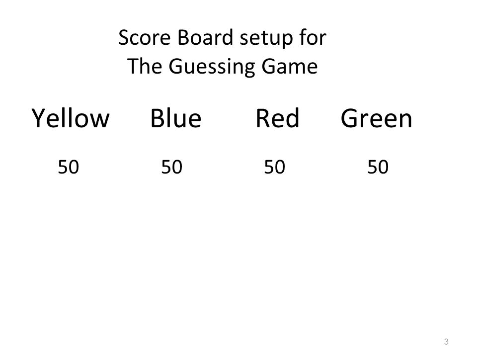 Yellow Blue Red Green 50 50 50 50 Score Board setup for The Guessing Game 3