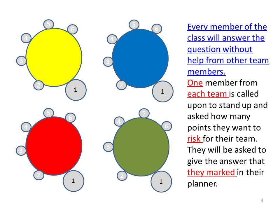 Individual Team member risk points Yellow team member risks 20 points Blue team member risks 10 points Red team member risks 80 points Green team member risks 10 points (Score keeper records points each team member has risked) 15