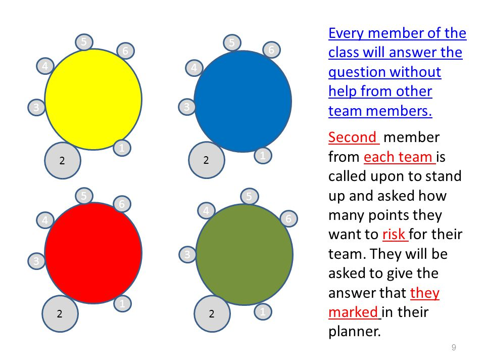 Individual Team member risk points Yellow team member risks 20 points Blue team member risks 20 points Red team member risks 20 points Green team member risks 30 points (Score keeper records points each team member has risked) 10
