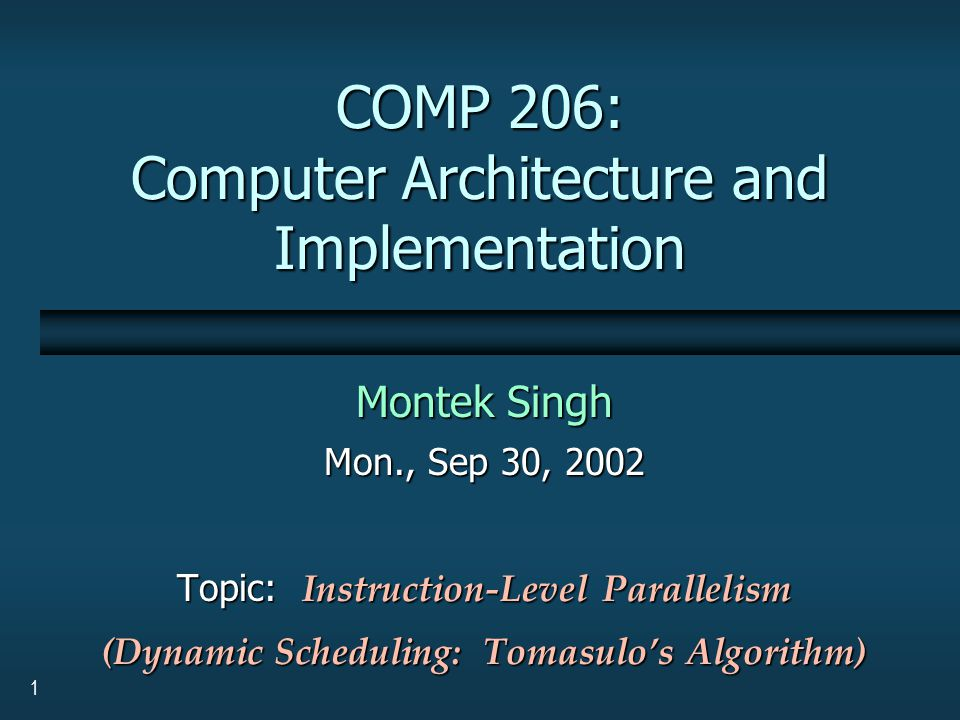2 Dynamic Scheduling: Tomasulo's Algorithm  For IBM 360/91 (about three years after CDC 6600)  Goal: High performance without special compilers  Differences between IBM 360 and CDC 6600 ISA IBM has only 2 register specifiers/instruction versus 3 in CDC 6600 IBM has only 2 register specifiers/instruction versus 3 in CDC 6600 IBM has 4 FP registers versus 8 in CDC 6600 IBM has 4 FP registers versus 8 in CDC 6600  Differences between Tomasulo Algorithm and Scoreboard Control and buffers distributed with Function Units versus centralized in scoreboard; called reservation stations Control and buffers distributed with Function Units versus centralized in scoreboard; called reservation stations Registers in instructions replaced by pointers to reservation station buffer Registers in instructions replaced by pointers to reservation station buffer Hardware renaming of registers to avoid WAR and WAW hazards Hardware renaming of registers to avoid WAR and WAW hazards Common Data Bus broadcasts results to all FUs (forwarding) Common Data Bus broadcasts results to all FUs (forwarding) Load and Stores treated as FUs as well Load and Stores treated as FUs as well