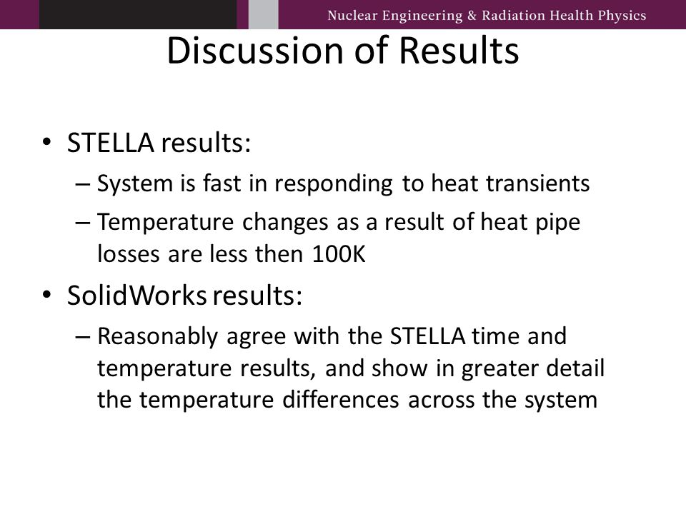 Discussion of Results STELLA results: – System is fast in responding to heat transients – Temperature changes as a result of heat pipe losses are less
