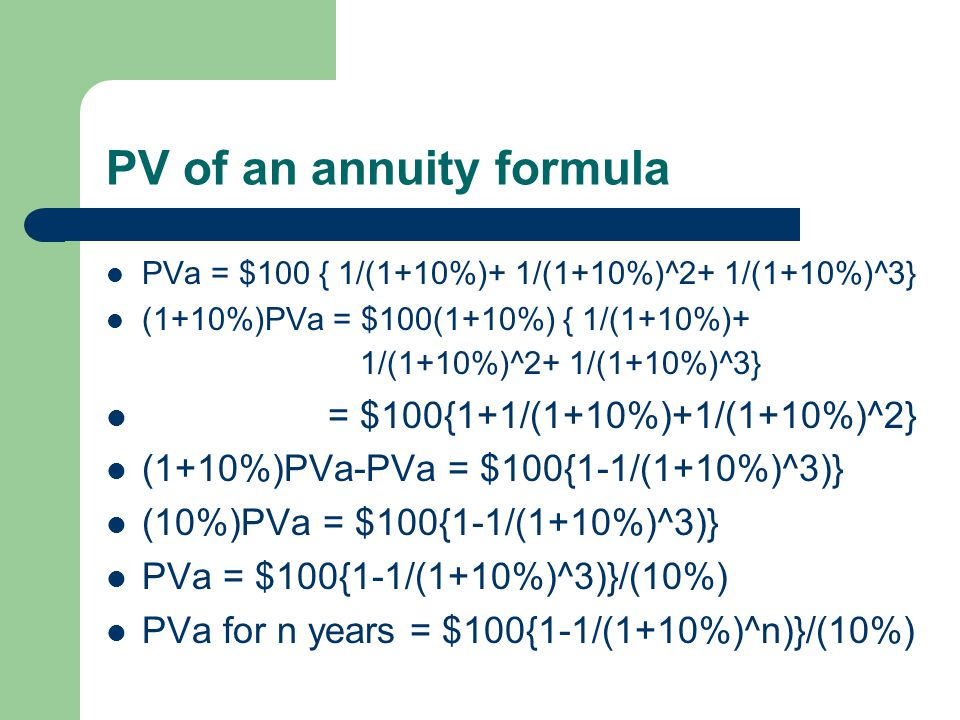 PV of an annuity Assuming the same annual compound int. rate Further assume that the corporate bond offer the same annual interest (i.e. $100 p.a.) fo