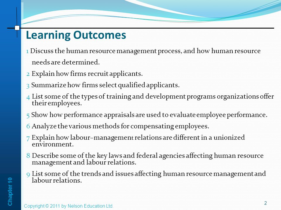 Chapter 10 Learning Outcomes 1 Discuss the human resource management process, and how human resource needs are determined.