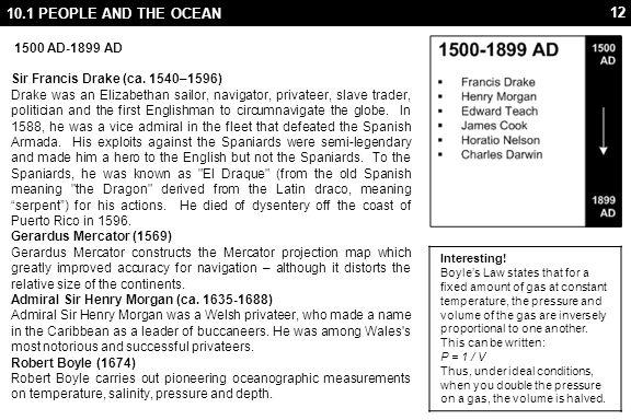 12 10.1 PEOPLE AND THE OCEAN 1500 AD-1899 AD Sir Francis Drake (ca. 1540–1596) Drake was an Elizabethan sailor, navigator, privateer, slave trader, po