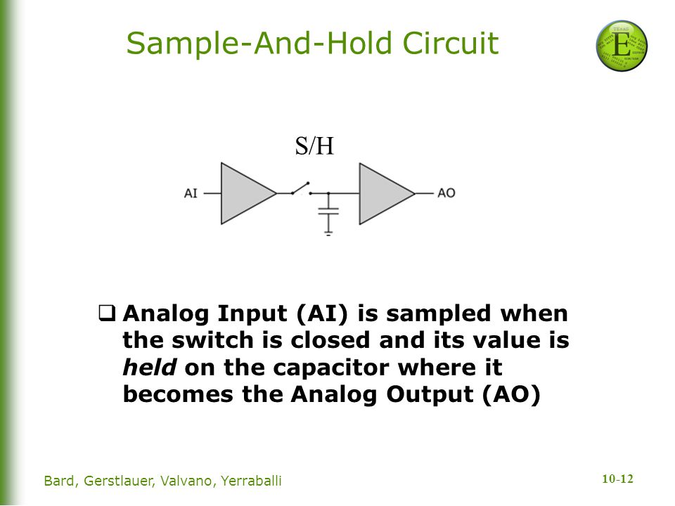 10-12 Sample-And-Hold Circuit  Analog Input (AI) is sampled when the switch is closed and its value is held on the capacitor where it becomes the Ana