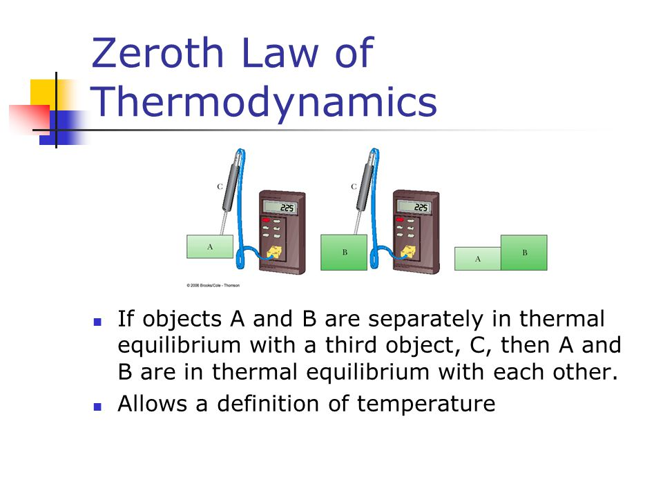 Zeroth Law of Thermodynamics If objects A and B are separately in thermal equilibrium with a third object, C, then A and B are in thermal equilibrium