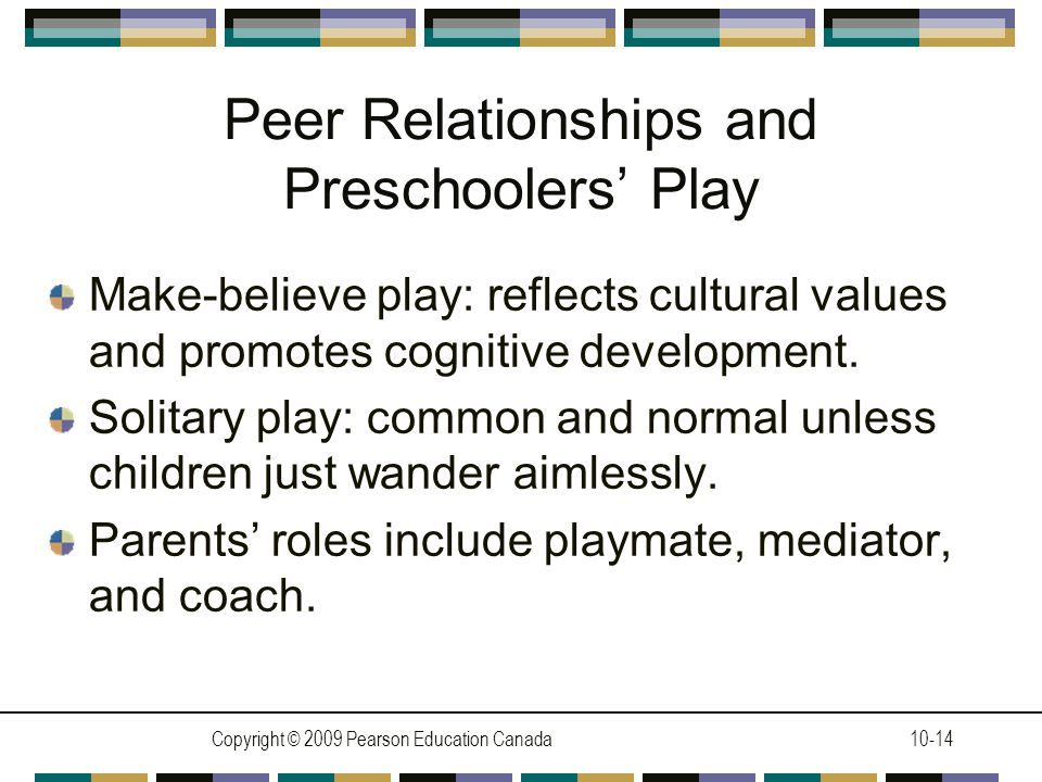 Copyright © 2009 Pearson Education Canada10-14 Peer Relationships and Preschoolers' Play Make-believe play: reflects cultural values and promotes cognitive development.