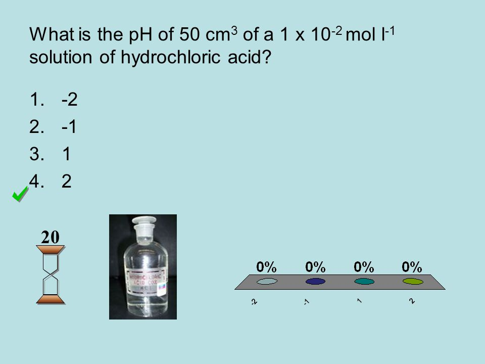 What is the pH of 50 cm 3 of a 1 x 10 -2 mol l -1 solution of hydrochloric acid.