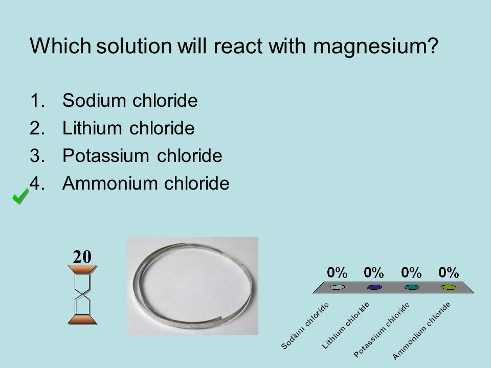 Which solution will react with magnesium.