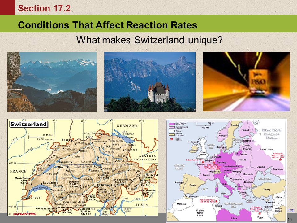 Conditions That Affect Reaction Rates Section 17.2 Return to TOC 13 What makes Switzerland unique?
