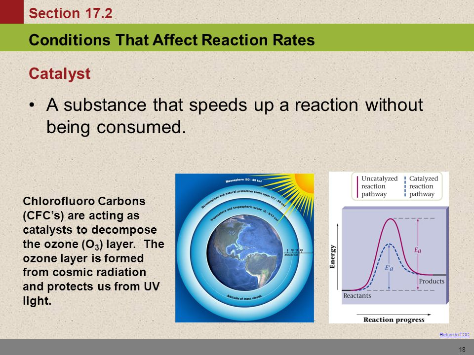 Conditions That Affect Reaction Rates Section 17.2 Return to TOC 18 Catalyst A substance that speeds up a reaction without being consumed. Chlorofluor