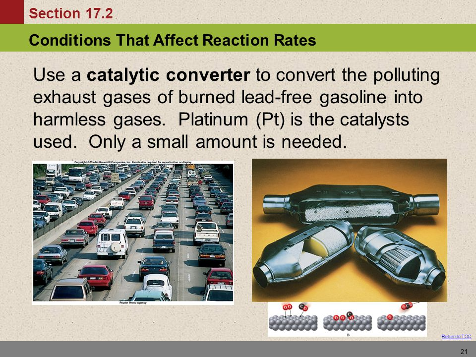 Conditions That Affect Reaction Rates Section 17.2 Return to TOC 21 Use a catalytic converter to convert the polluting exhaust gases of burned lead-fr