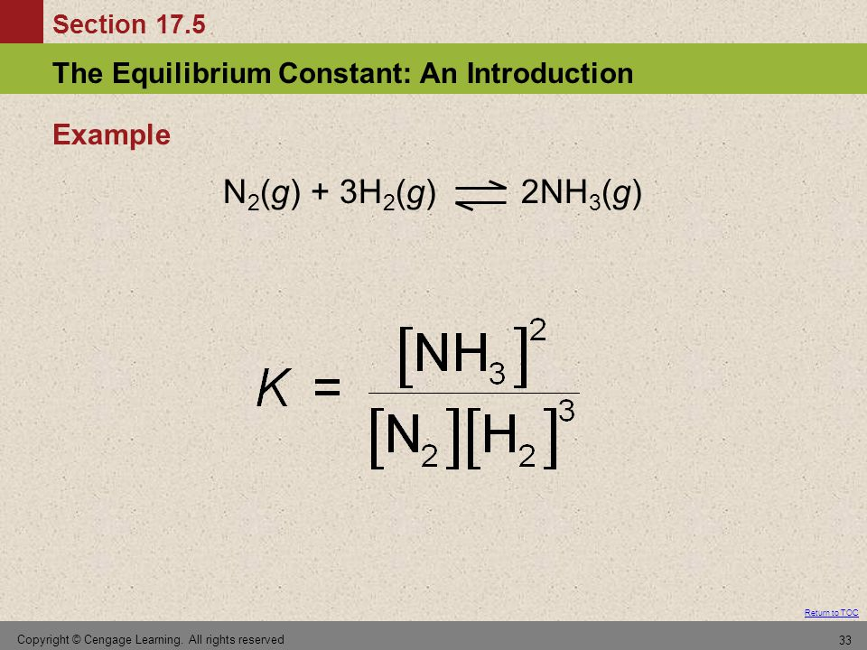 Section 17.5 The Equilibrium Constant: An Introduction Return to TOC Copyright © Cengage Learning. All rights reserved 33 Example N 2 (g) + 3H 2 (g) 2