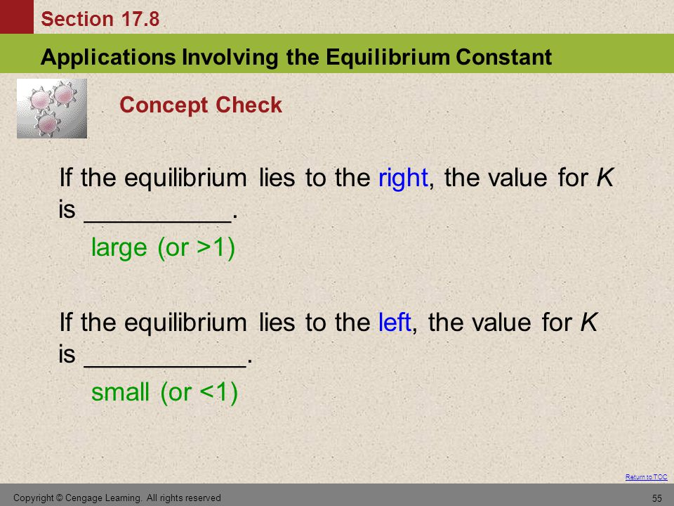Section 17.8 Applications Involving the Equilibrium Constant Return to TOC Copyright © Cengage Learning. All rights reserved 55 Concept Check If the e
