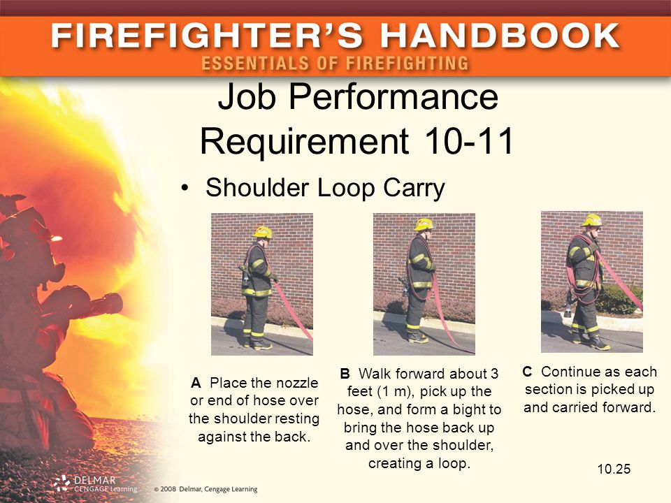Job Performance Requirement 10-11 Shoulder Loop Carry A Place the nozzle or end of hose over the shoulder resting against the back. B Walk forward abo