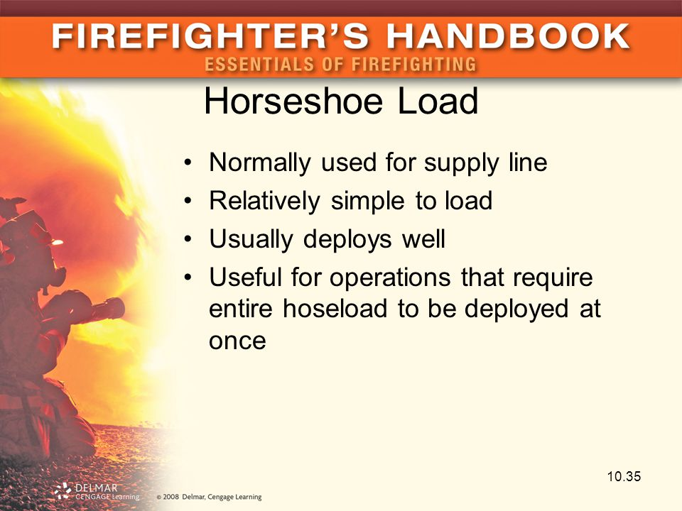 Horseshoe Load Normally used for supply line Relatively simple to load Usually deploys well Useful for operations that require entire hoseload to be d