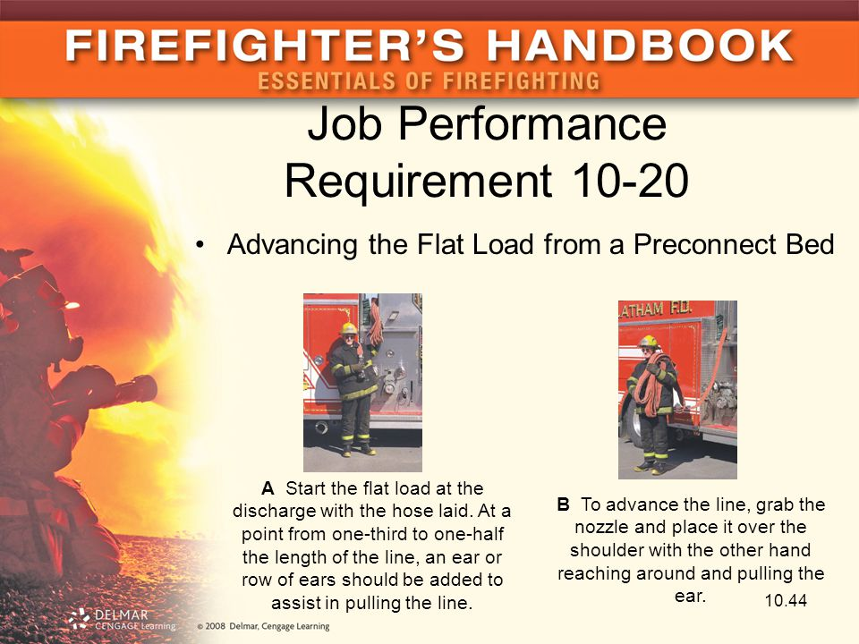 Job Performance Requirement 10-20 Advancing the Flat Load from a Preconnect Bed A Start the flat load at the discharge with the hose laid. At a point