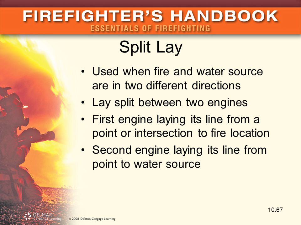 Split Lay Used when fire and water source are in two different directions Lay split between two engines First engine laying its line from a point or i