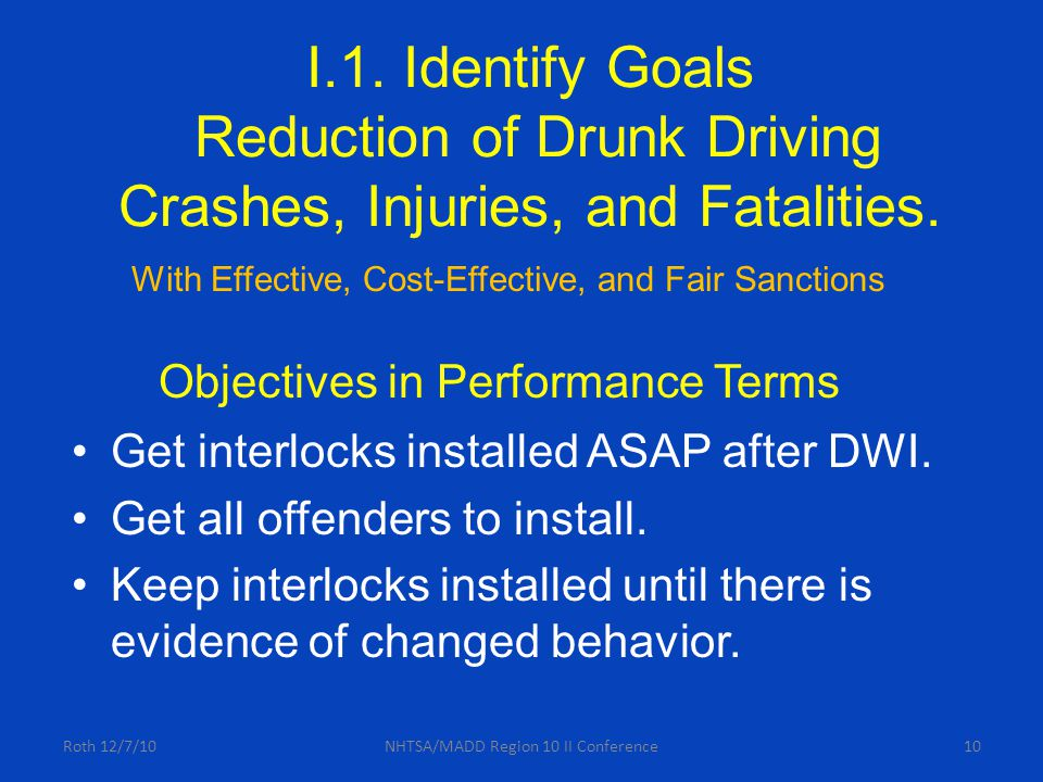 10 I.1. Identify Goals Reduction of Drunk Driving Crashes, Injuries, and Fatalities.