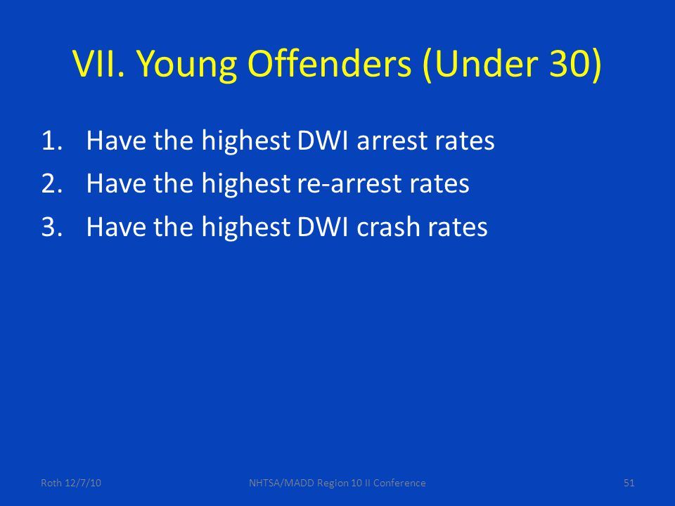 51 VII. Young Offenders (Under 30) 1.Have the highest DWI arrest rates 2.Have the highest re-arrest rates 3.Have the highest DWI crash rates Roth 12/7