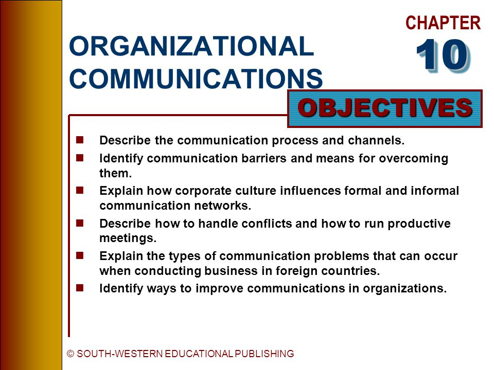 CHAPTER OBJECTIVES © SOUTH-WESTERN EDUCATIONAL PUBLISHING ORGANIZATIONAL COMMUNICATIONS nDescribe the communication process and channels.