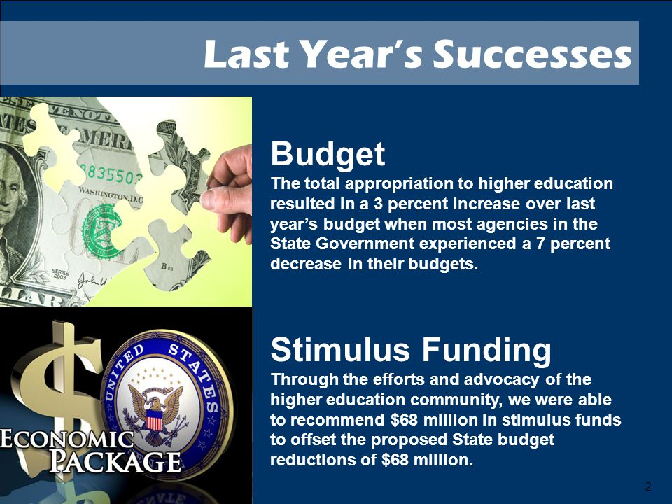 2 Last Year's Successes Budget The total appropriation to higher education resulted in a 3 percent increase over last year's budget when most agencies in the State Government experienced a 7 percent decrease in their budgets.