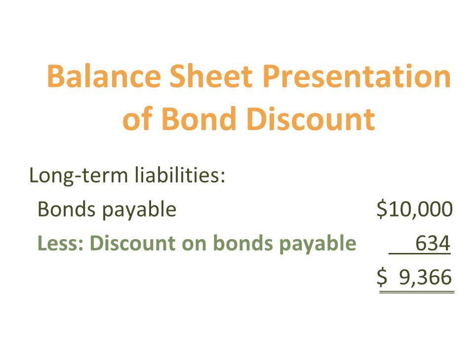 Balance Sheet Presentation of Bond Discount Long-term liabilities: Bonds payable $10,000 Less: Discount on bonds payable 634 $ 9,366