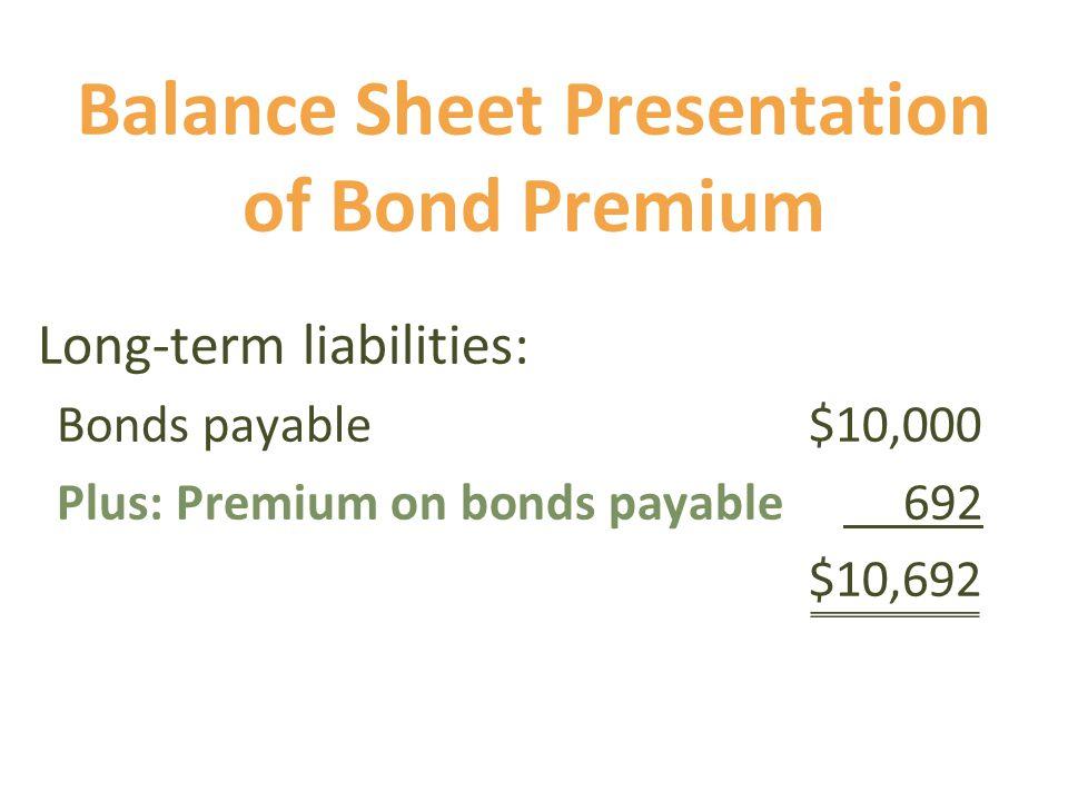 Balance Sheet Presentation of Bond Premium Long-term liabilities: Bonds payable $10,000 Plus: Premium on bonds payable 692 $10,692