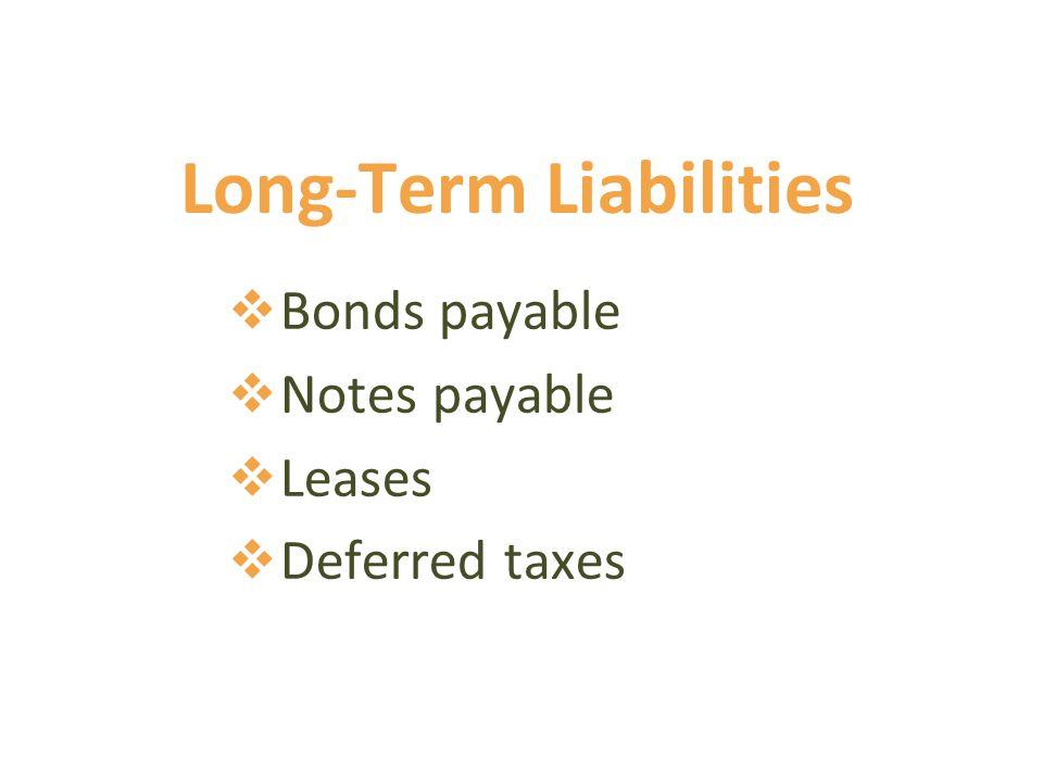 Long-Term Liabilities  Bonds payable  Notes payable  Leases  Deferred taxes