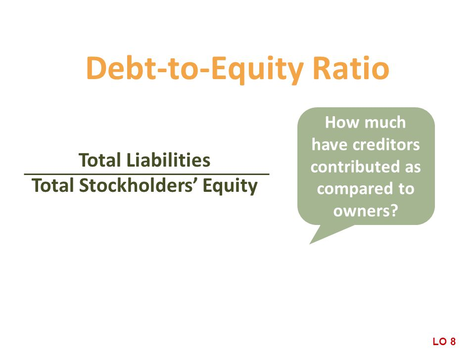 Debt-to-Equity Ratio Total Liabilities Total Stockholders' Equity How much have creditors contributed as compared to owners.