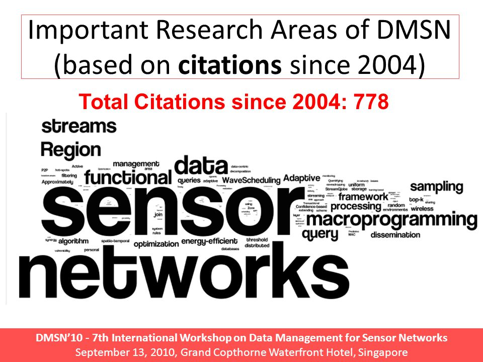 DMSN'10 - 7th International Workshop on Data Management for Sensor Networks September 13, 2010, Grand Copthorne Waterfront Hotel, Singapore Important Research Areas of DMSN (based on citations since 2004) Total Citations since 2004: 778