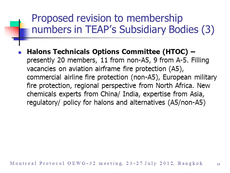 M o n t r e a l P r o t o c o l O E W G - 3 2 m e e t i n g, 2 3 - 2 7 J u l y 2 0 1 2, B a n g k o k 14 Proposed revision to membership numbers in TEAP's Subsidiary Bodies (3) Halons Technicals Options Committee (HTOC) – presently 20 members, 11 from non-A5, 9 from A-5.